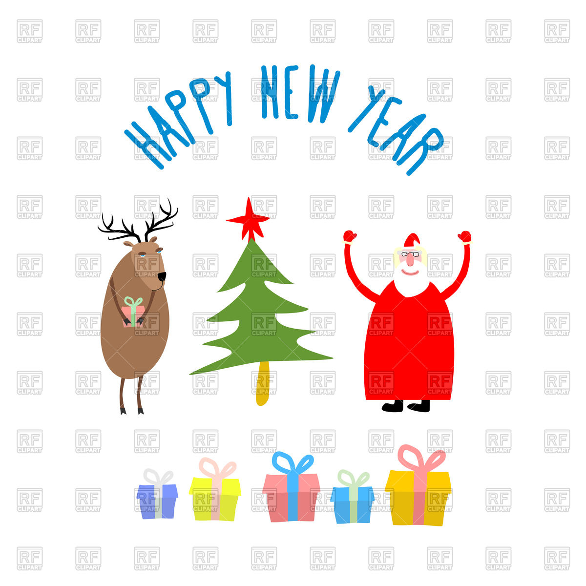 1200x1200 Happy New Year, Christmas Tree, Santa Claus, Deer And Gifts