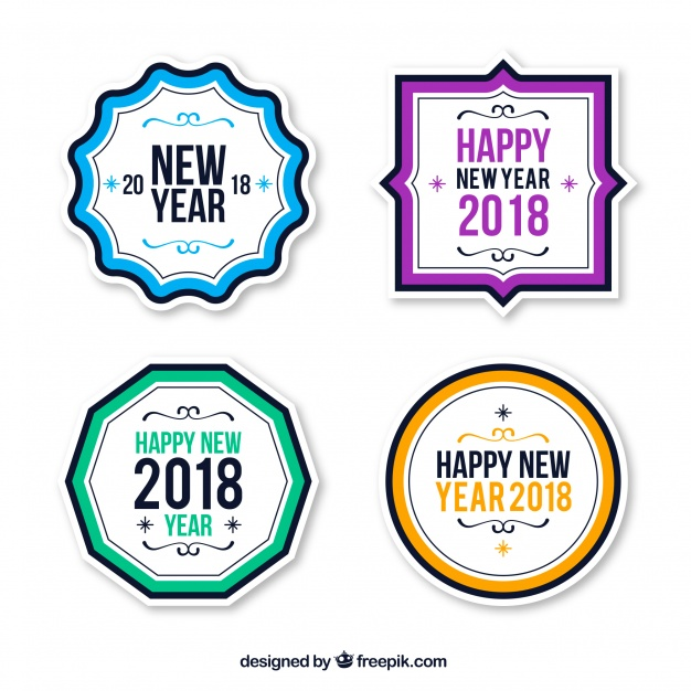 626x626 Vintage New Year 2018 Badge Collection In Blue And Red Vector