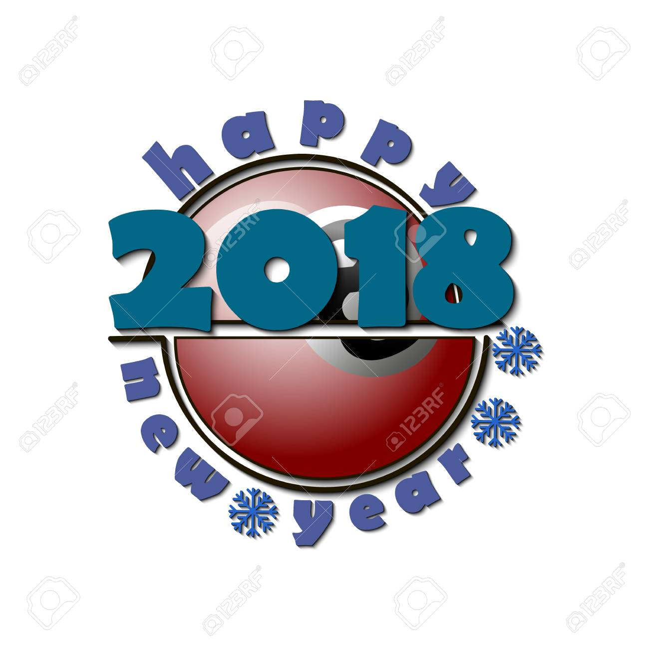 1300x1300 Billiard Ball And A Happy New Year 2018. Vector Illustration