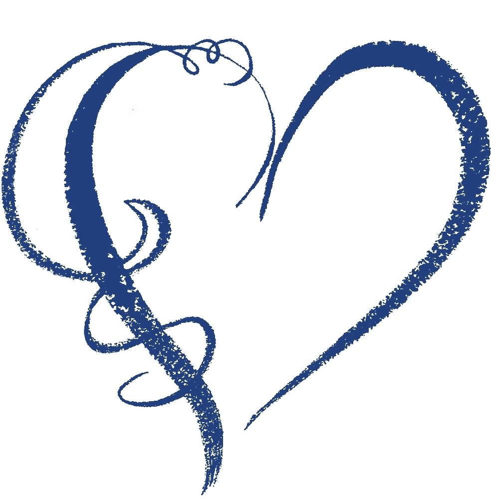 1000x1000 Dark Blue Clipart Heart