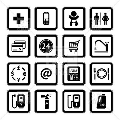400x400 Roadside And Gas Station Services Icons Royalty Free Vector Clip