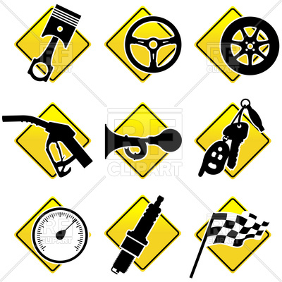 400x400 Simple Automobile And Racing Icons Royalty Free Vector Clip Art