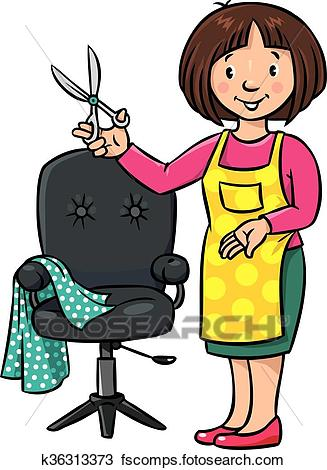 327x470 Clipart Of Funny Hairdresser Or Barber. Profession Abc Series