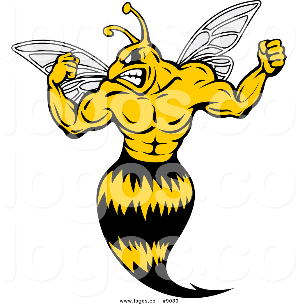 1024x1044 Royalty Free Clip Art Vector Muscular Strong Yellow Jacket Flexing