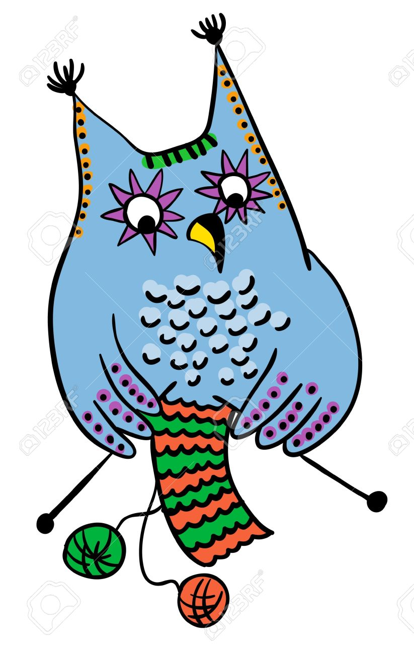 823x1300 Owl Clipart Knitting