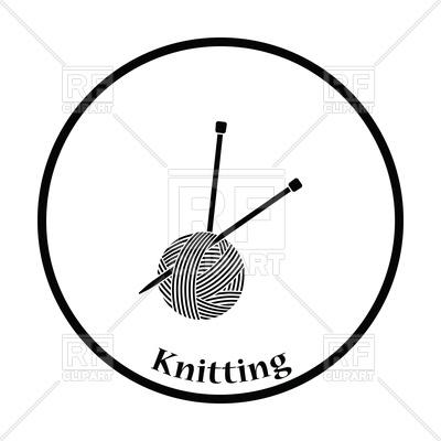 400x400 Thin Circle Design Of Yarn Ball With Knitting Needles Royalty Free