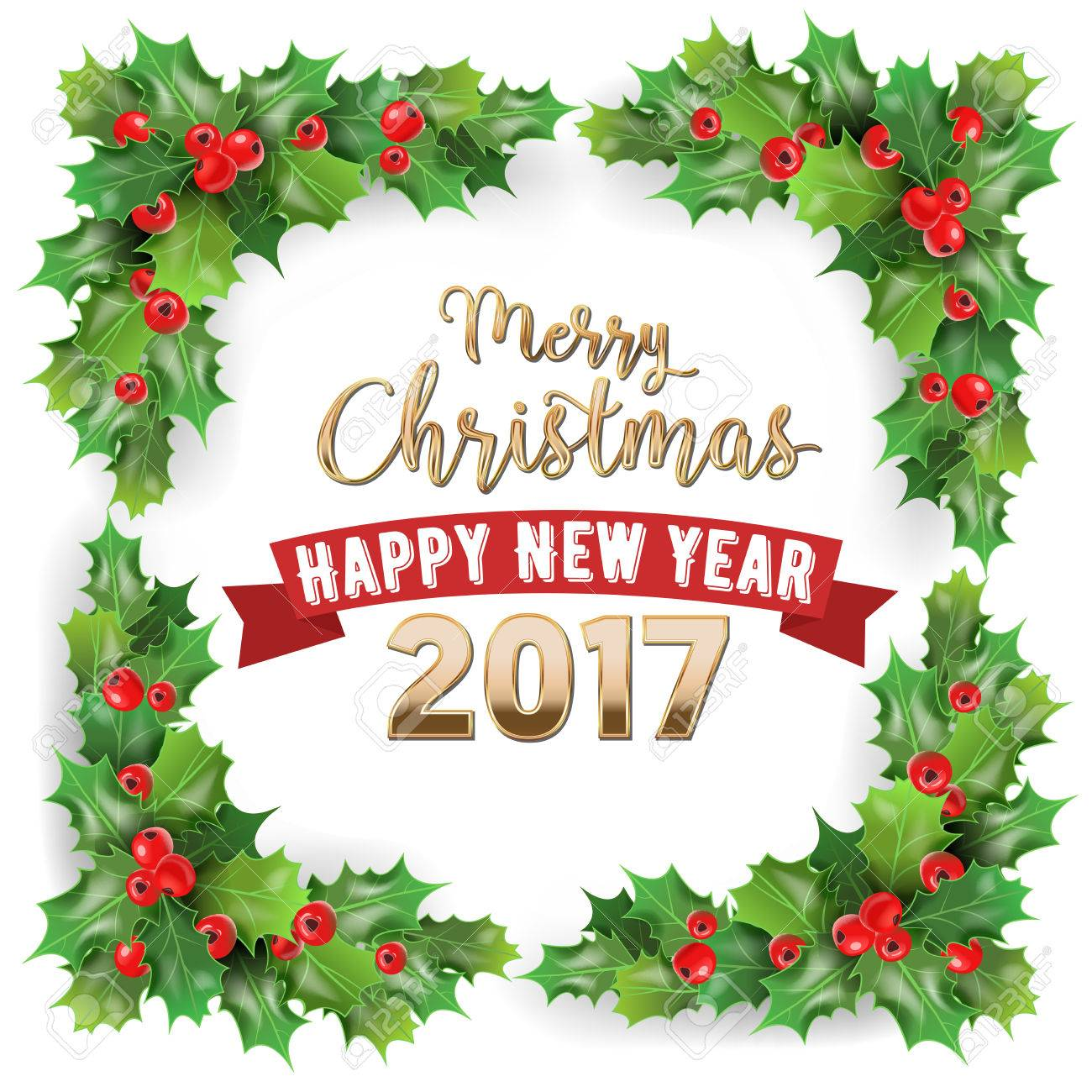 1300x1300 Merry Christmas 2017 And Happy New Year Holly Berries Winter