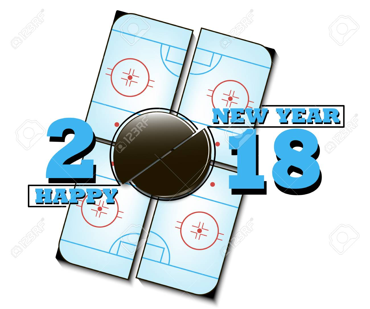1300x1086 Happy New Year 2018 And Hockey Puck Against The Background
