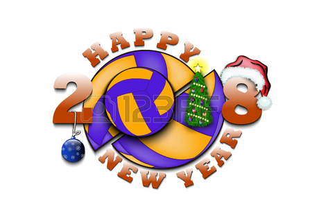 450x315 Happy New Year 2018 And Volleyball With Christmas Tree, Ball