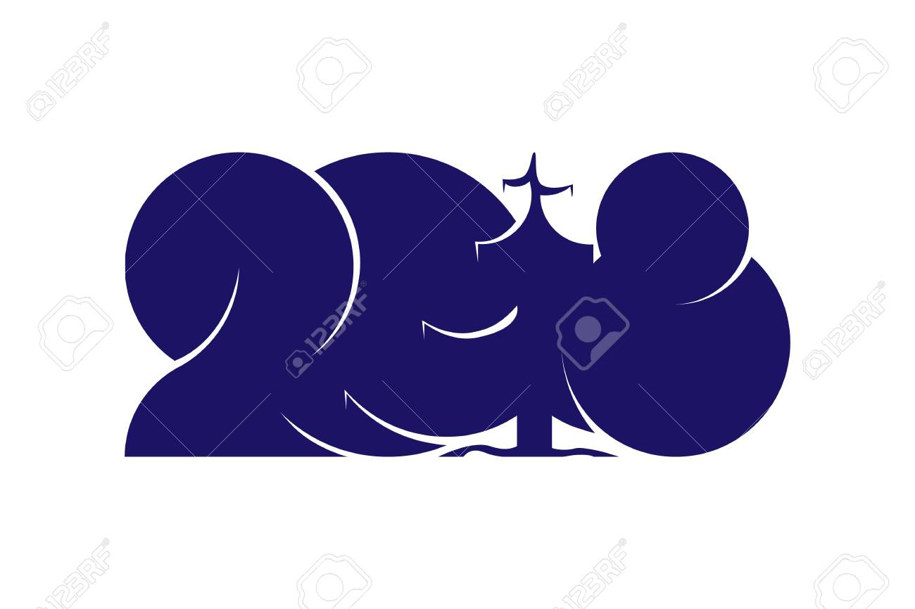 1300x866 Happy New Year 2018 Text Design Isolated On White Background
