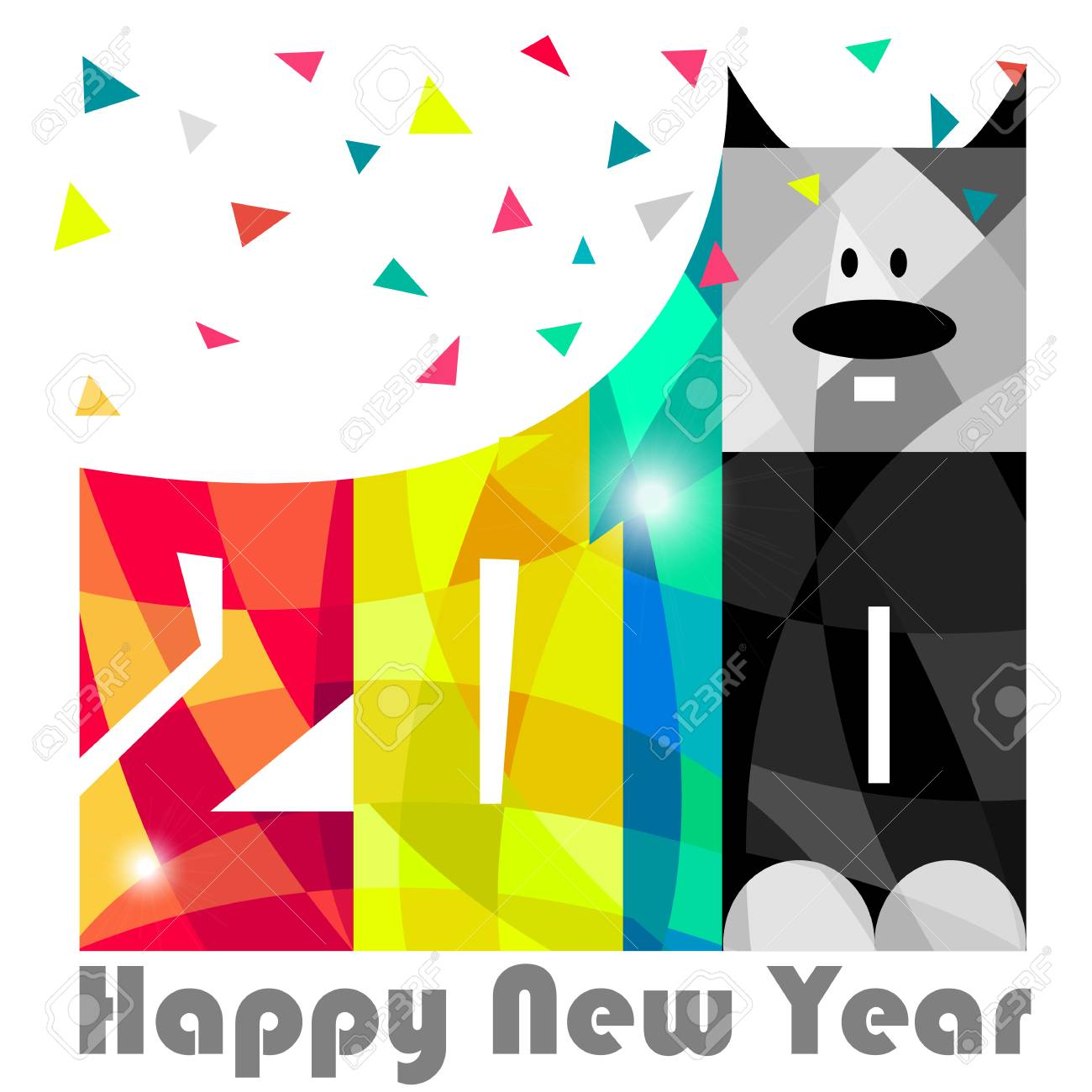 1300x1300 Happy New Year 2018. Year Of Dog. Greeting Card Design. Vector