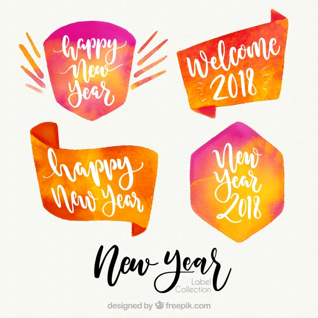 626x626 Watercolor New Year 2018 Badge Collection In Orange Vector Free
