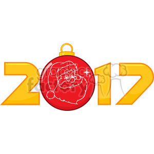 300x300 Royalty Free 2017 New Years Eve Greeting With Christmas Ball