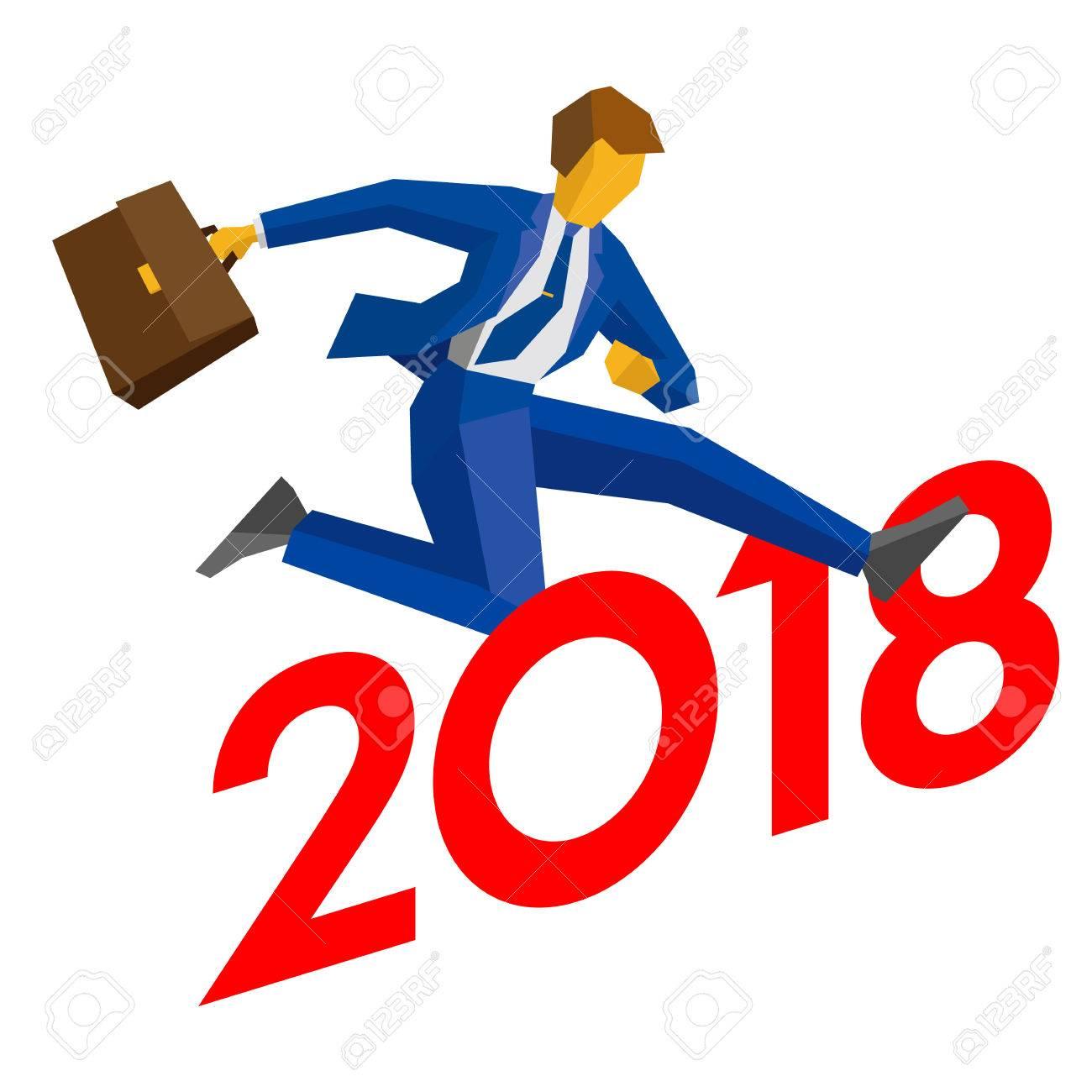 1300x1300 Businessman Jump Over Number 2018. Man Crosses The Borderline