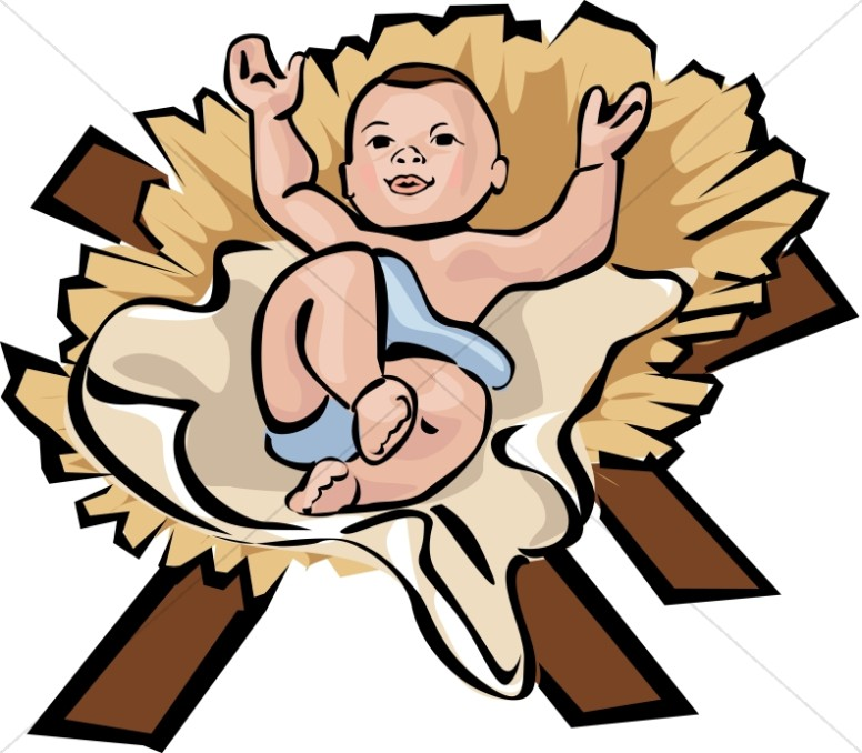 776x678 Contented Baby Jesus In Color Nativity Clipart