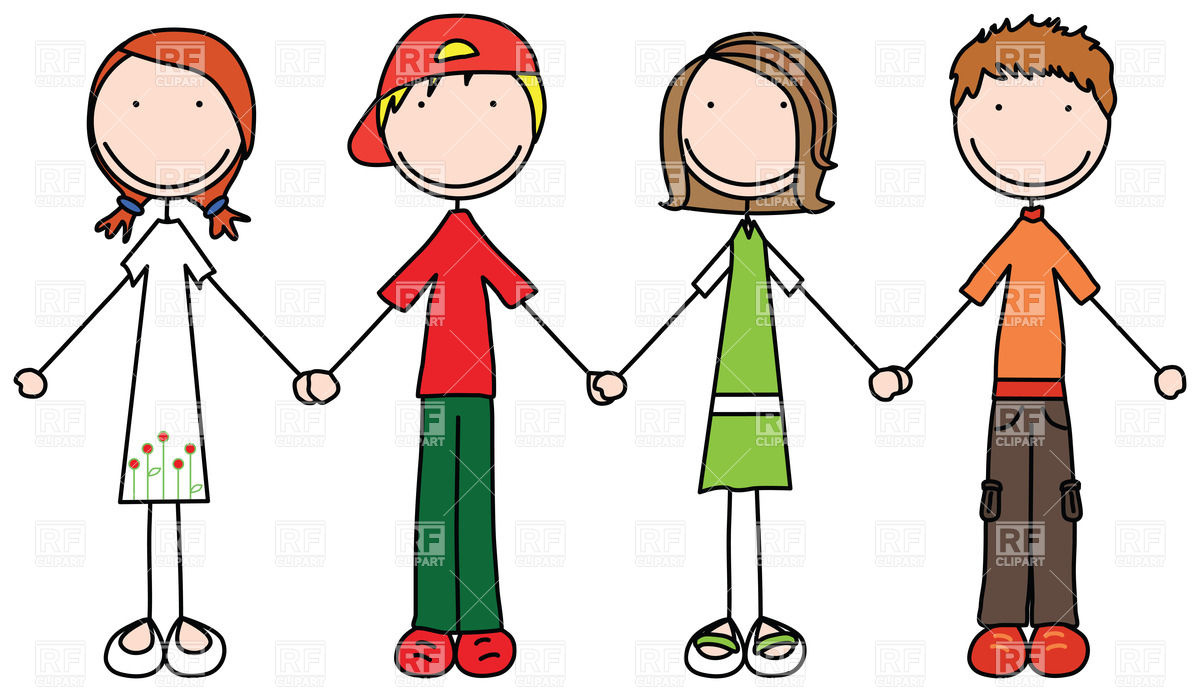 1200x692 Happy Children Join Hands In Simple Style Royalty Free Vector Clip
