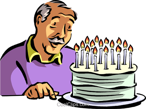 480x357 Old Man Blowing Out His Candles Royalty Free Vector Clip Art