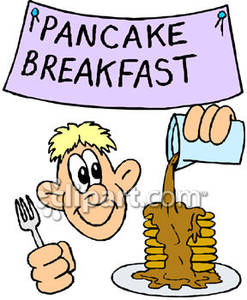 247x300 Man Eating A Pancake Breakfast Royalty Free Clipart Picture