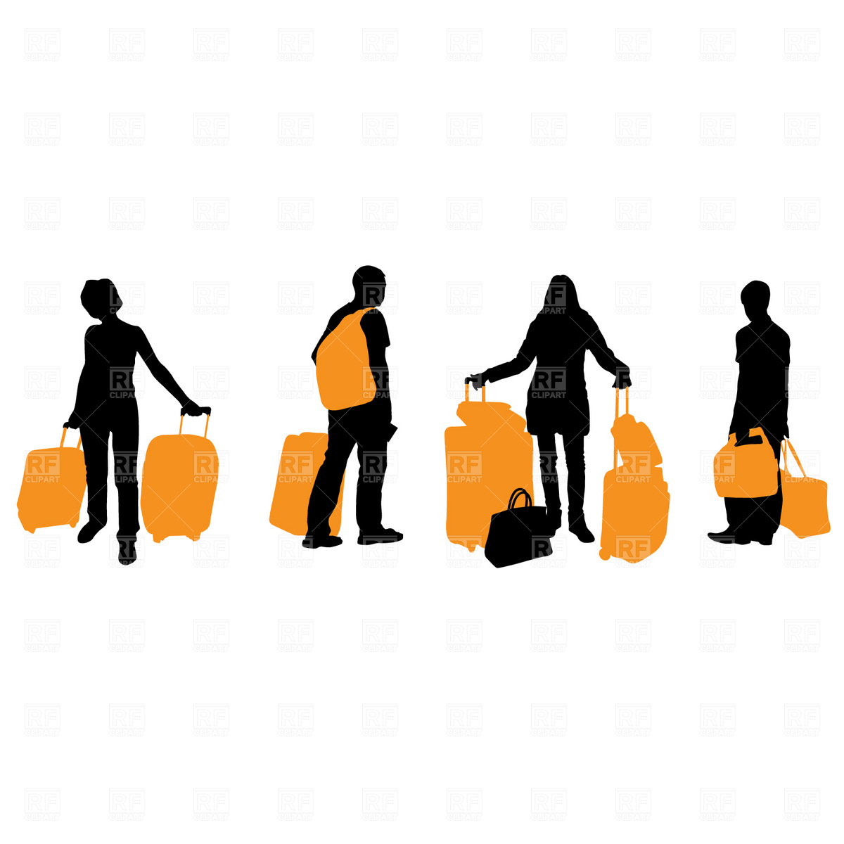 1200x1200 Traveling People With Suitcases And Bags Royalty Free Vector Clip