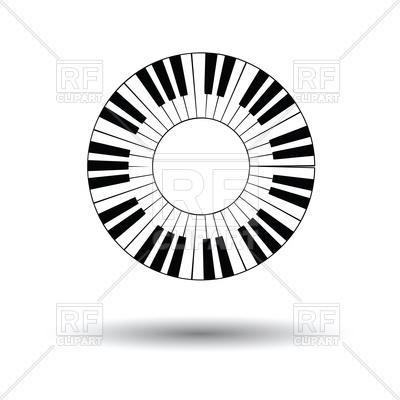 400x400 Piano Circle Keyboard Icon Royalty Free Vector Clip Art Image