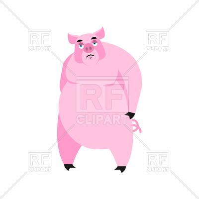 400x400 Pig Sad Emoji Royalty Free Vector Clip Art Image