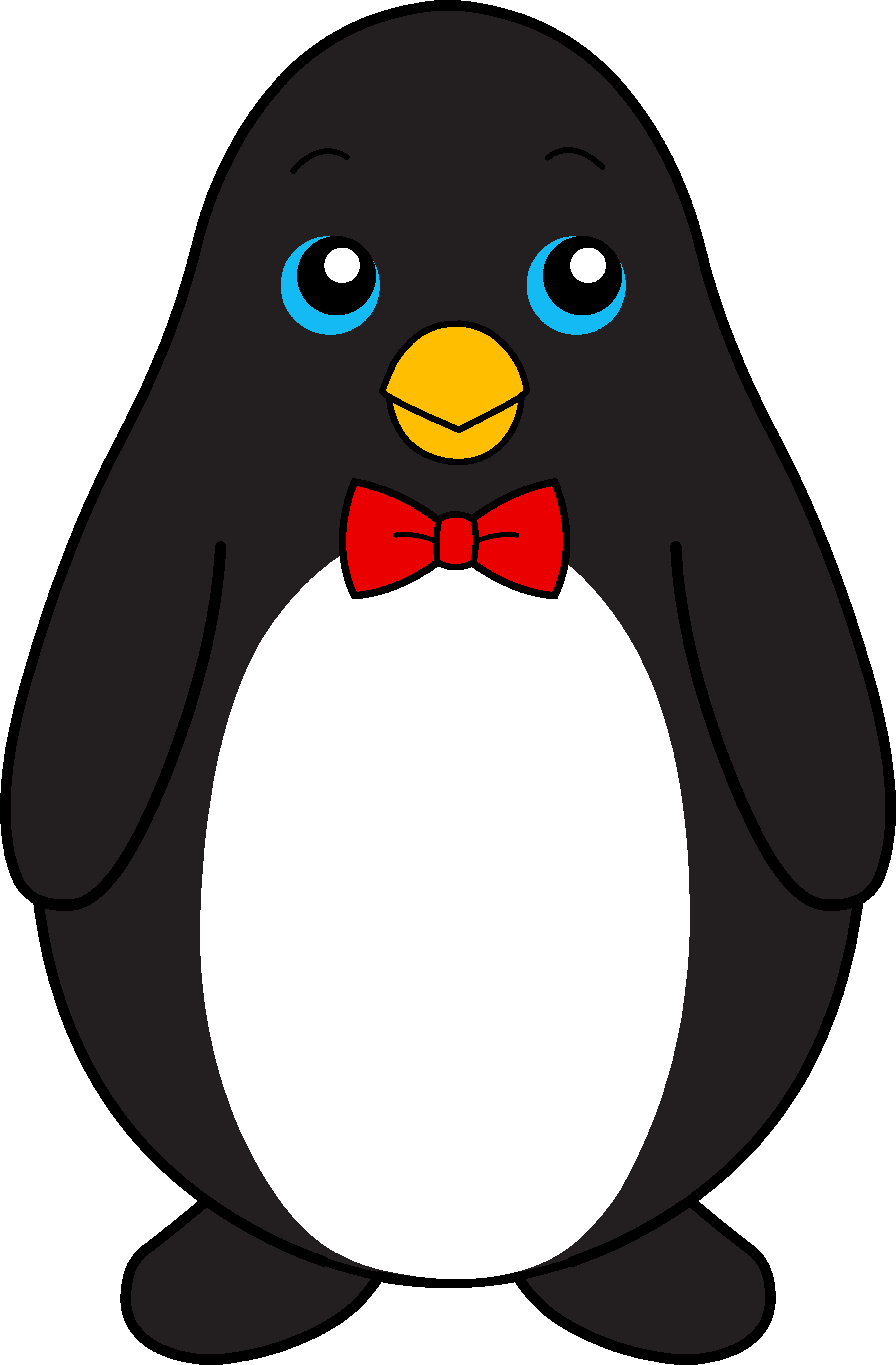 4583x6978 Cute Black Penguin With Red Bow Tie