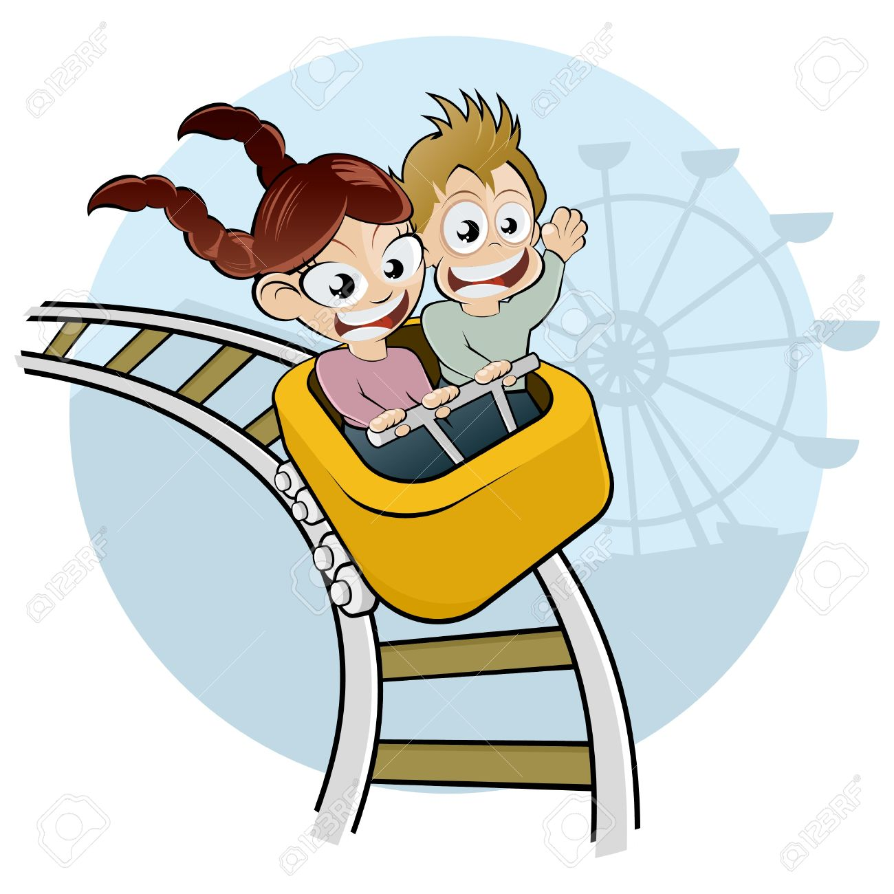 1300x1300 Cartoon Kids On Rollercoaster Royalty Free Cliparts, Vectors,
