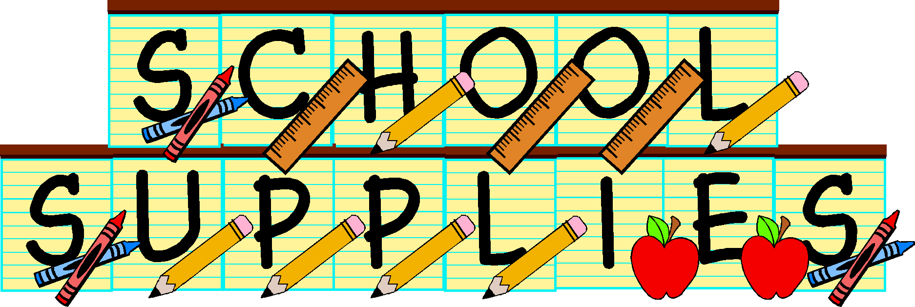 1874x629 School Supplies Drive Clipart Kid