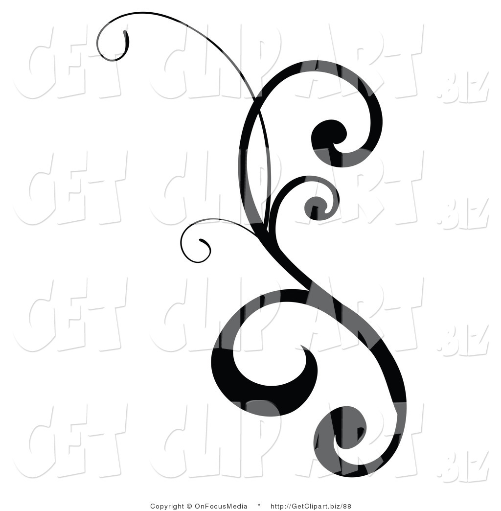 1024x1044 Clip Art Of A Black Design Scroll With Curly Edges On White By