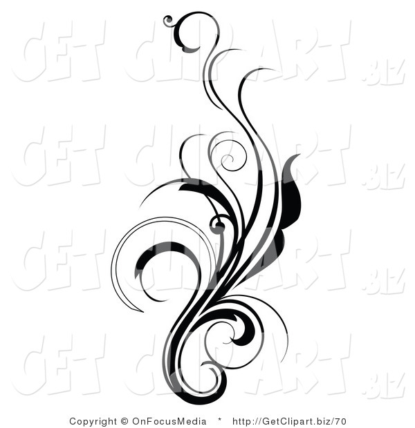 600x620 Clip Art Of An Elegant And Curly Black And White Design Scroll
