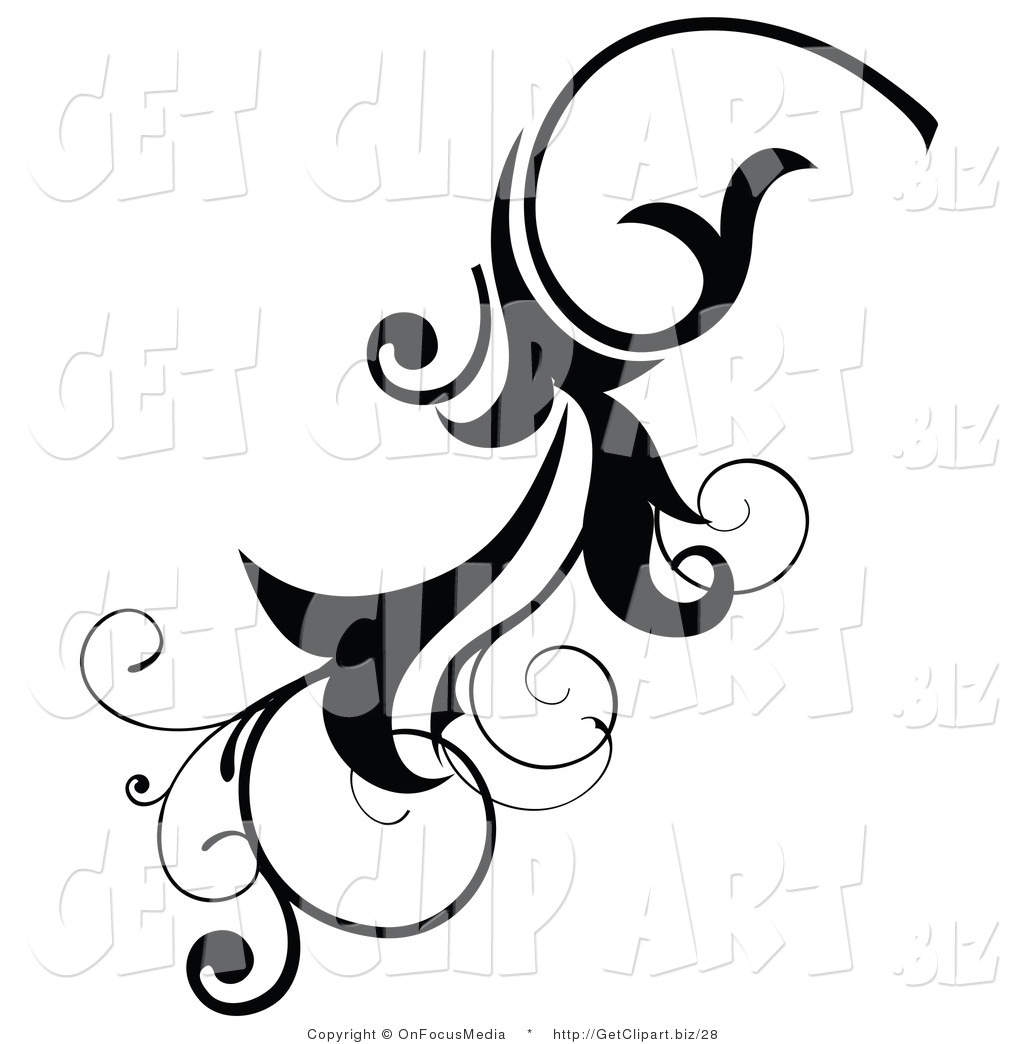 1024x1044 Clip Art Of A Black Scrolling Flourish Design Element By