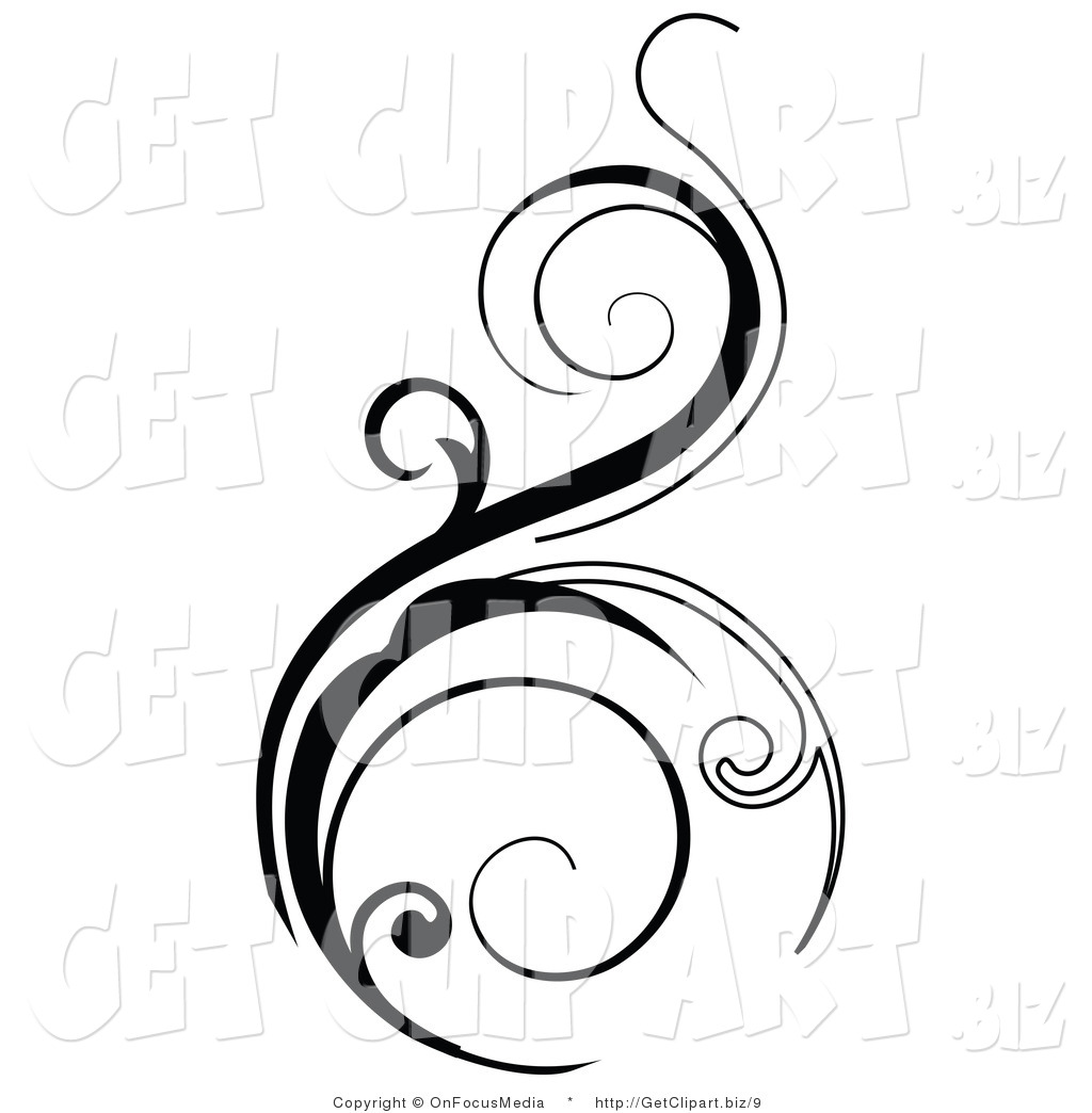 1024x1044 Vector Clip Art Of A Black Vertical Scroll Design Element On White