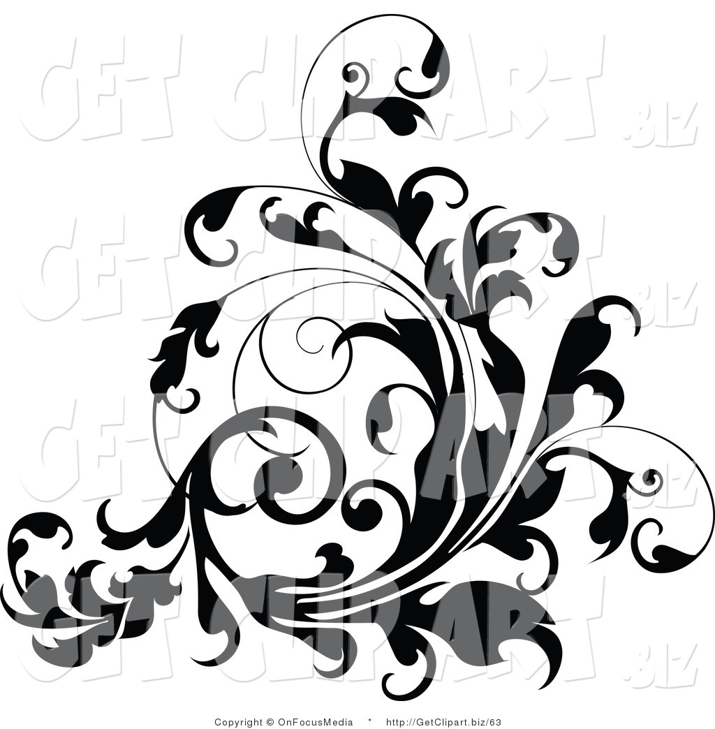 1024x1044 Clip Art Of A Curling Thick Black Vine Flourish Flowing Up By