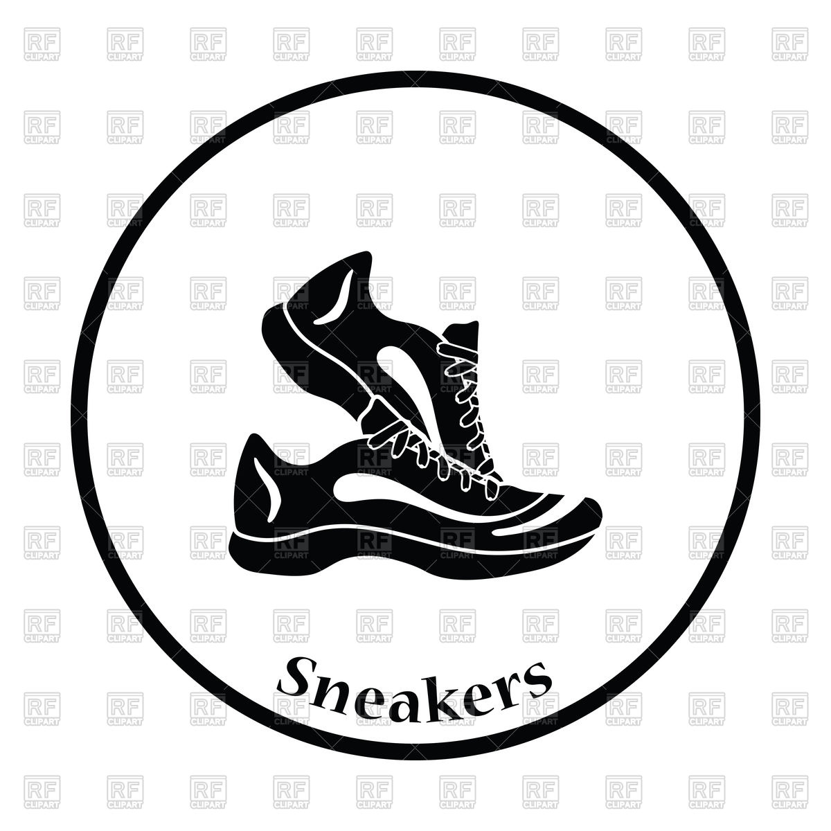 1200x1200 Thin Circle Design Icon Of Fitness Sneakers Royalty Free Vector