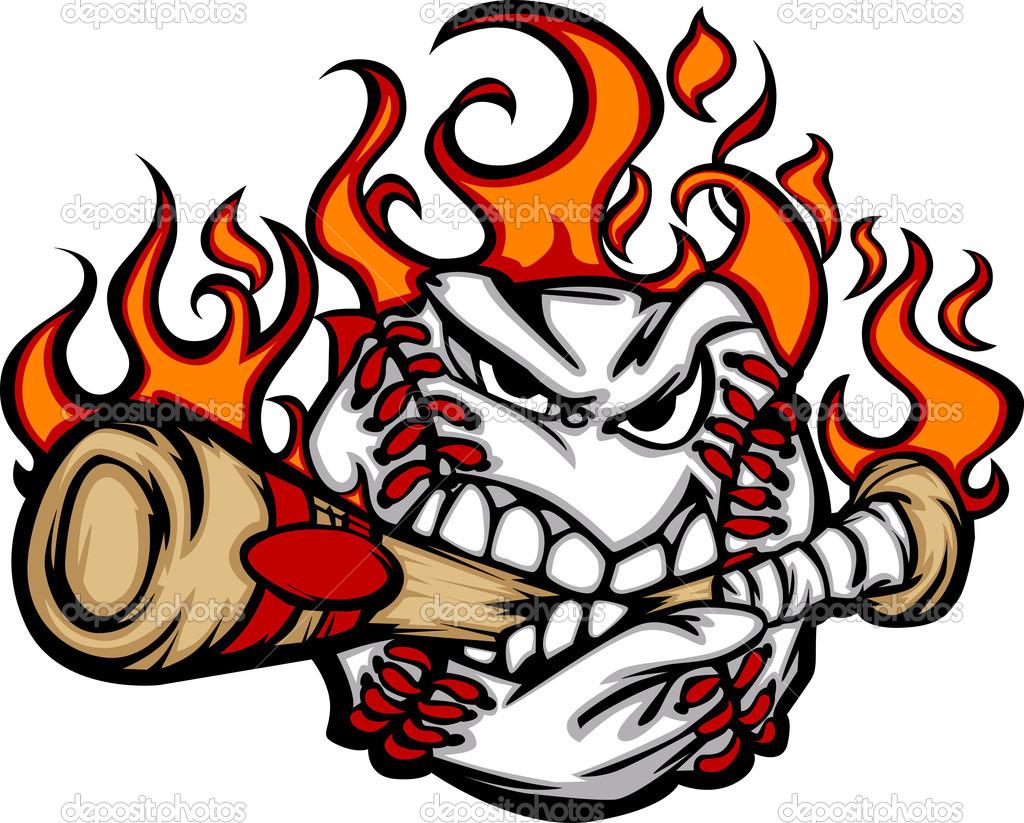 1024x823 Flaming Softball Clipart