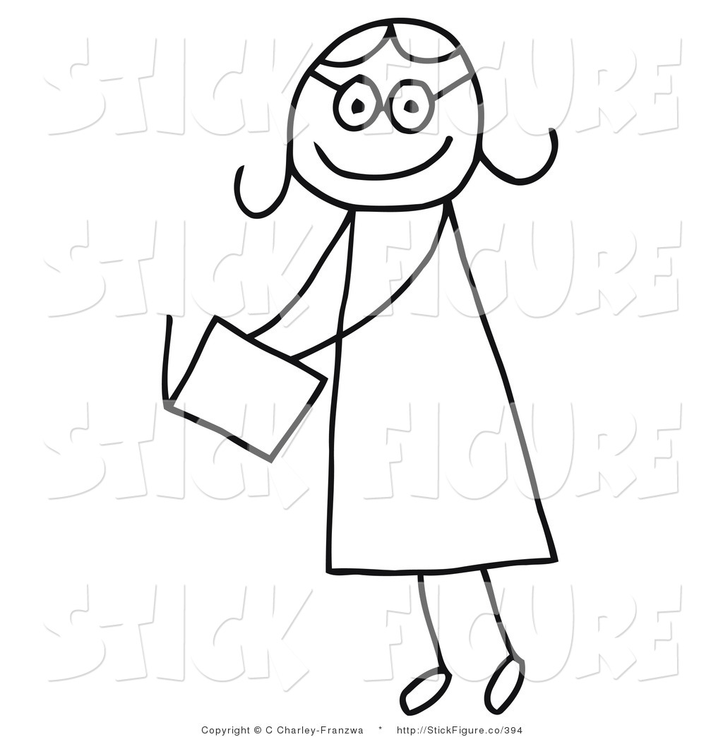 1024x1044 Clip Art Of A Stick Figure Person Girl Reading An Open Book By C