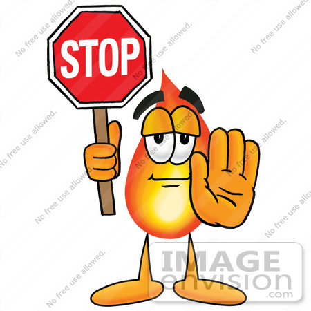 450x450 Clip Art Graphic Of A Fire Cartoon Character Holding A Stop Sign