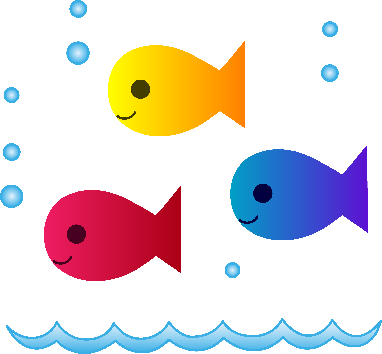 5434x5031 Cute School Of Fish Swimming Free Clip Art