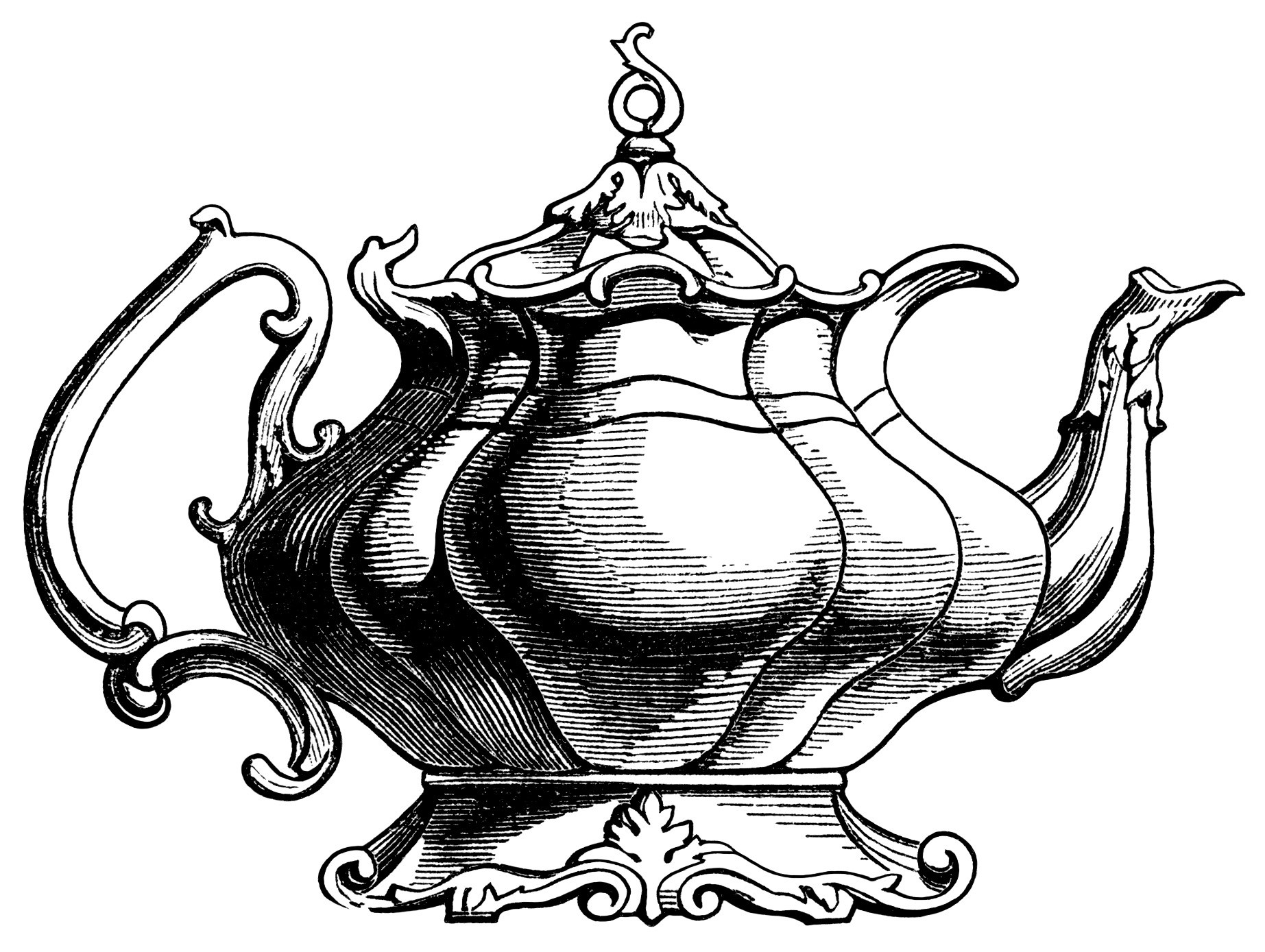 1845x1389 Victorian Tea Pot Illustration, Vintage Teapot Clipart, Black