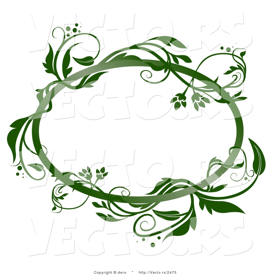 1024x1044 Vector Of A Blank Oval Frame With Green Vines By Dero