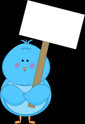 300x438 Blue Bird Holding A Blank Sign Clip Art
