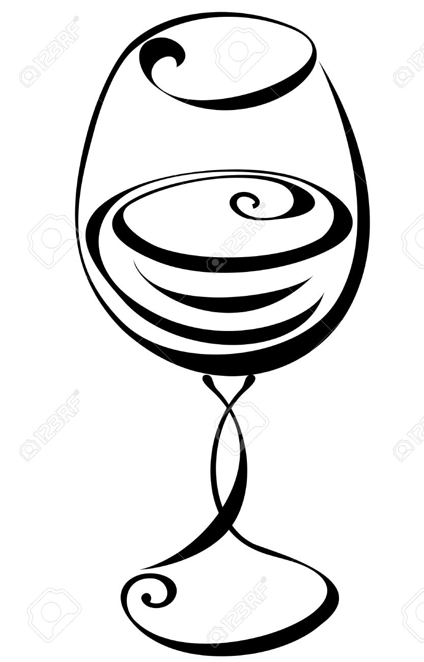 833x1300 Black Clipart Wine Glass