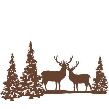 432x432 Reindeer Winter Scene Svg Scrapbook Cut File Cute Clipart Files