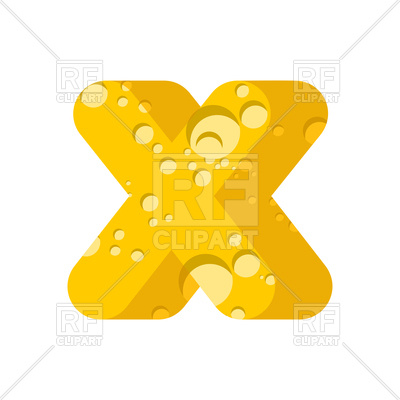 400x400 Letter X Cheese Font Royalty Free Vector Clip Art Image