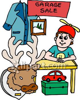280x350 Royalty Free Clip Art Image Boy Having A Garage Sale