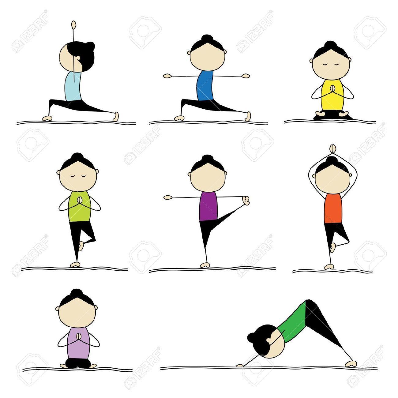 1300x1300 9778108 Woman Practicing Yoga Stock Vector Yoga Cartoon Exercise