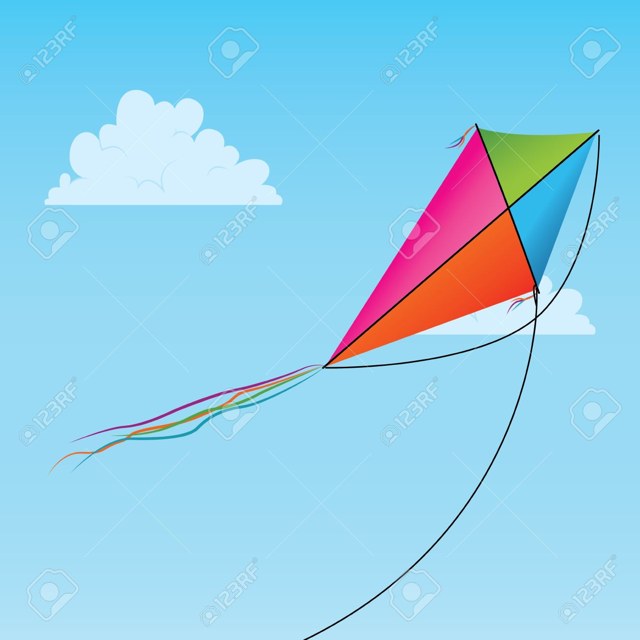 1300x1300 Kite In The Sky Clipart