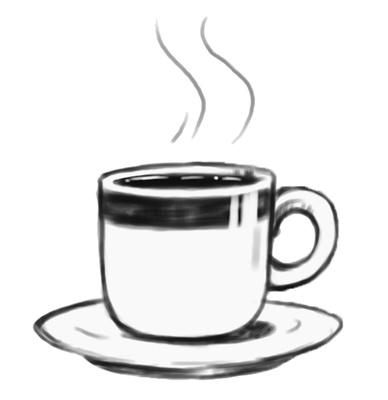 388x400 Coffee Cup Clip Art Black White Free Clipart Images 7