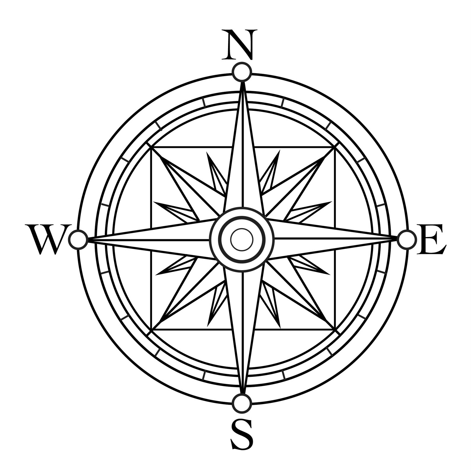 1590x1600 Free Clipart Compass Rose Line Drawing