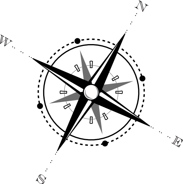 594x597 Black And White Compass Clip Art Free Vector 4vector